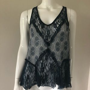 Free People Blue Sheer Lace Patterned Top